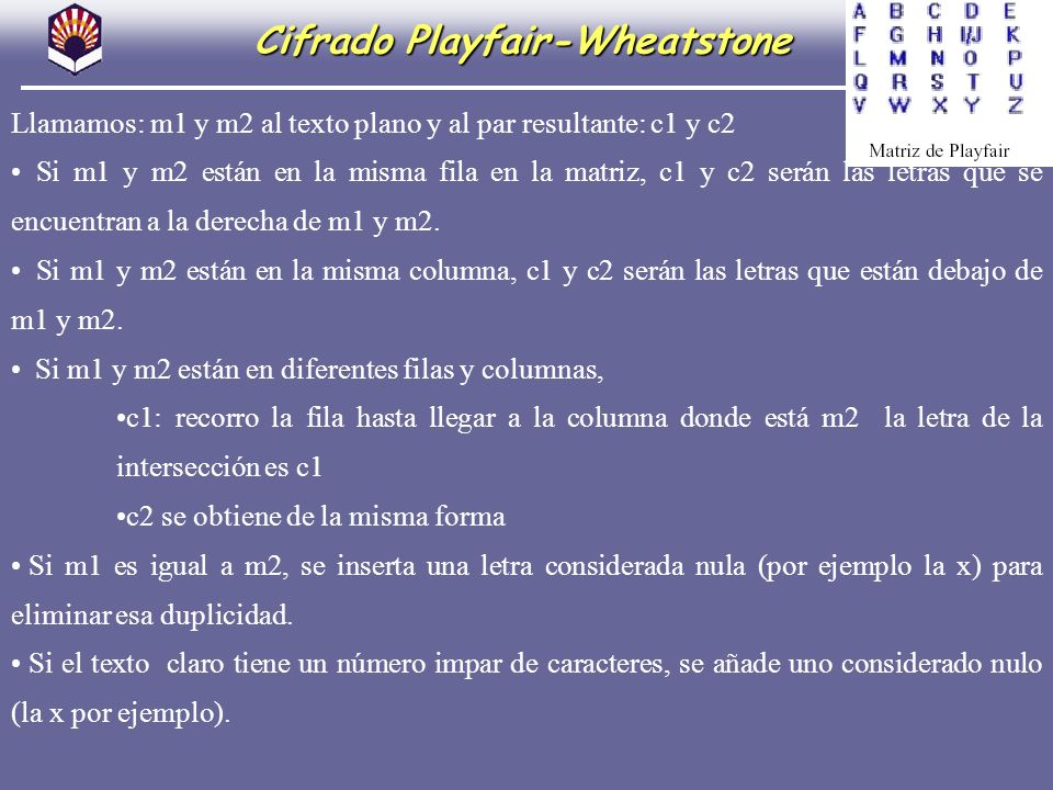 Cifrado Playfair-Wheatstone