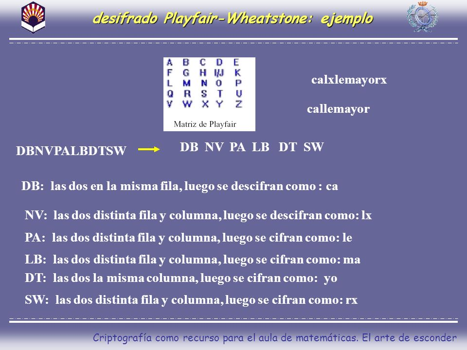 desifrado Playfair-Wheatstone: ejemplo