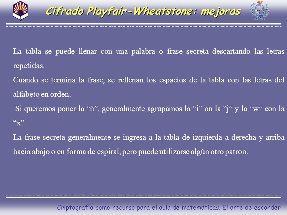 Cifrado Playfair-Wheatstone: mejoras