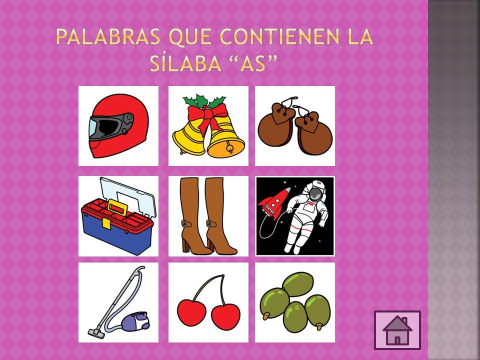 Palabras que contienen la sílaba AS