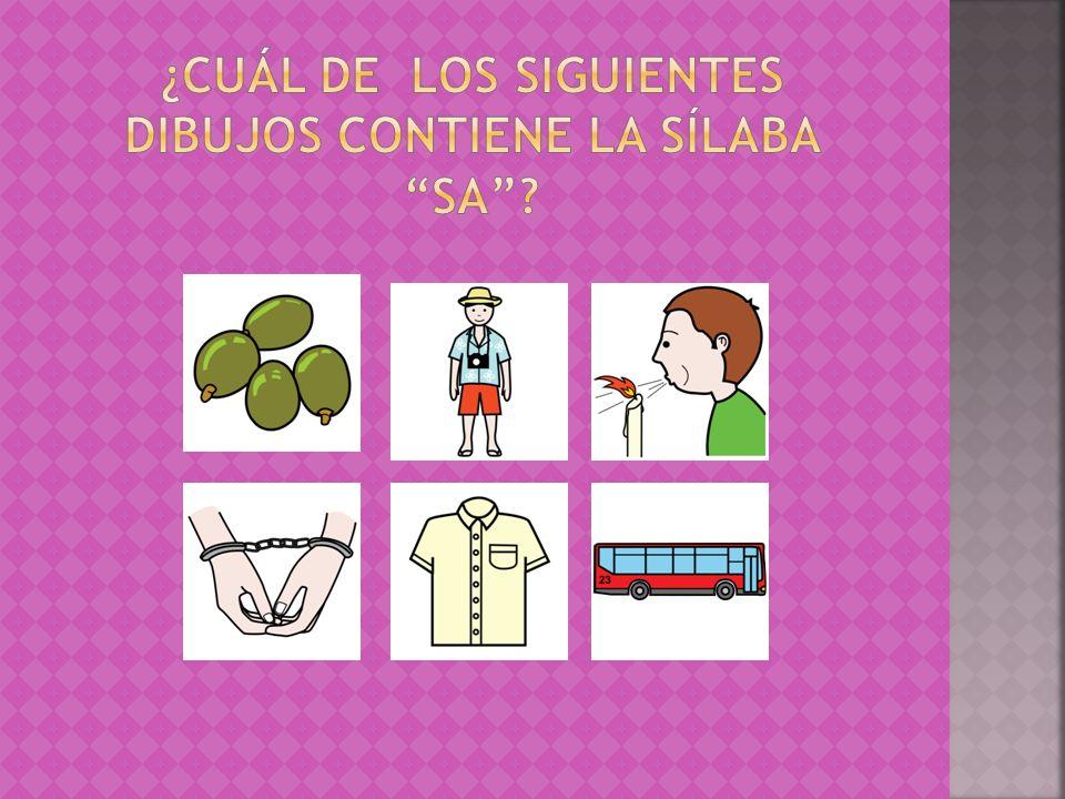 ¿Cuál de los siguientes dibujos contiene la sílaba sa