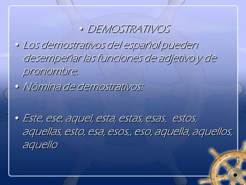 DEMOSTRATIVOS Los demostrativos del español pueden desempeñar las funciones de adjetivo y de pronombre.