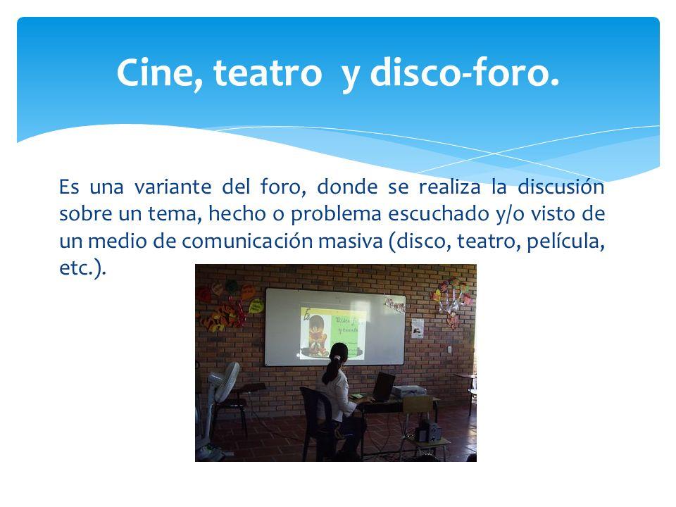 Cine, teatro y disco-foro.