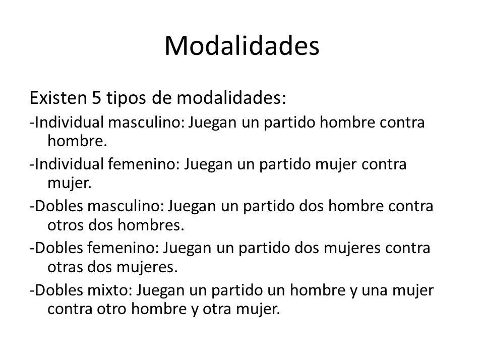 Modalidades Existen 5 tipos de modalidades: