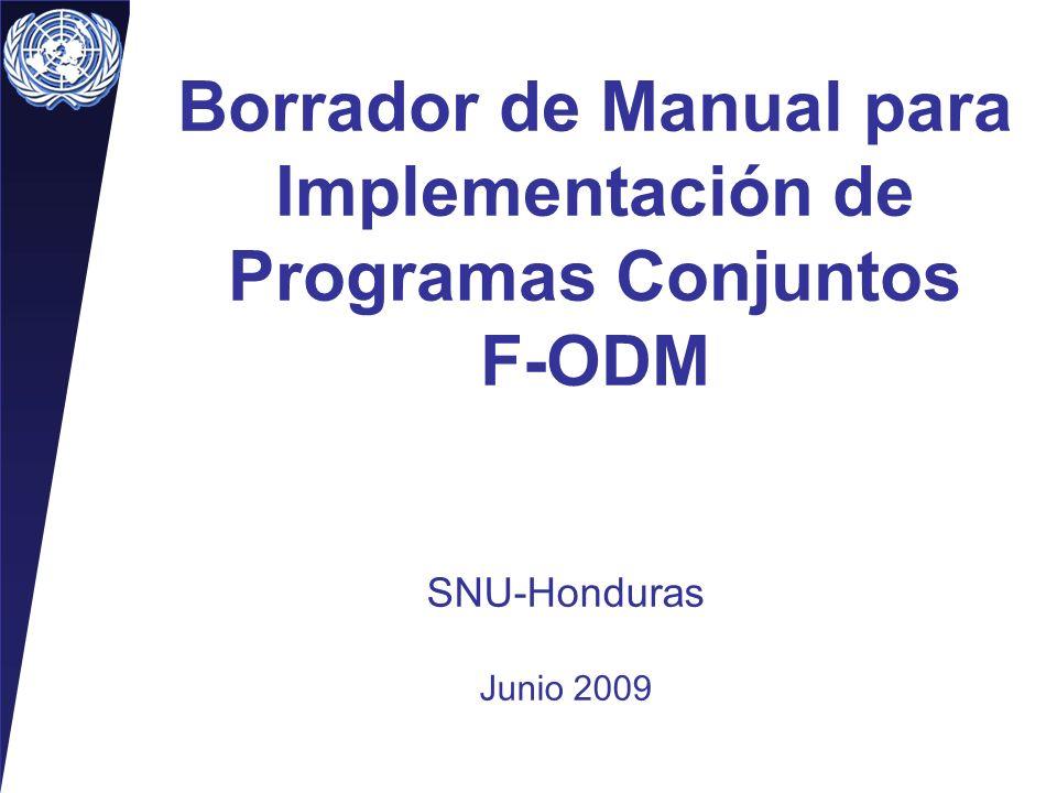Borrador de Manual para Implementación de Programas Conjuntos F-ODM