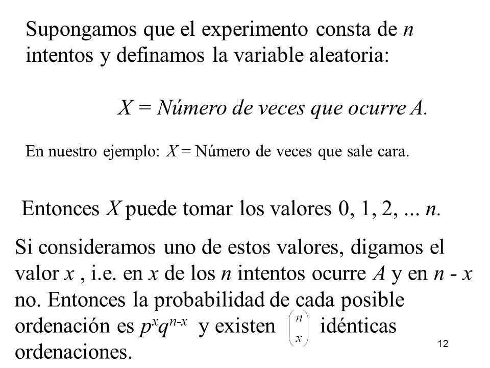 X = Número de veces que ocurre A.