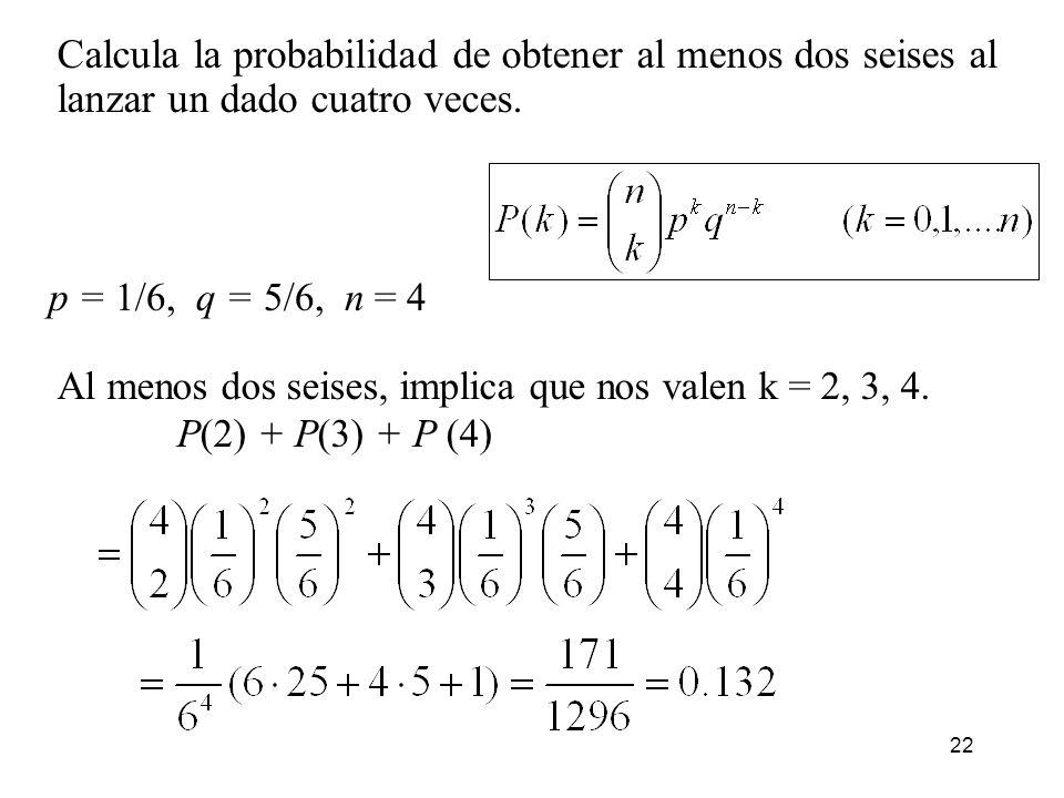 Calcula la probabilidad de obtener al menos dos seises al lanzar un dado cuatro veces.