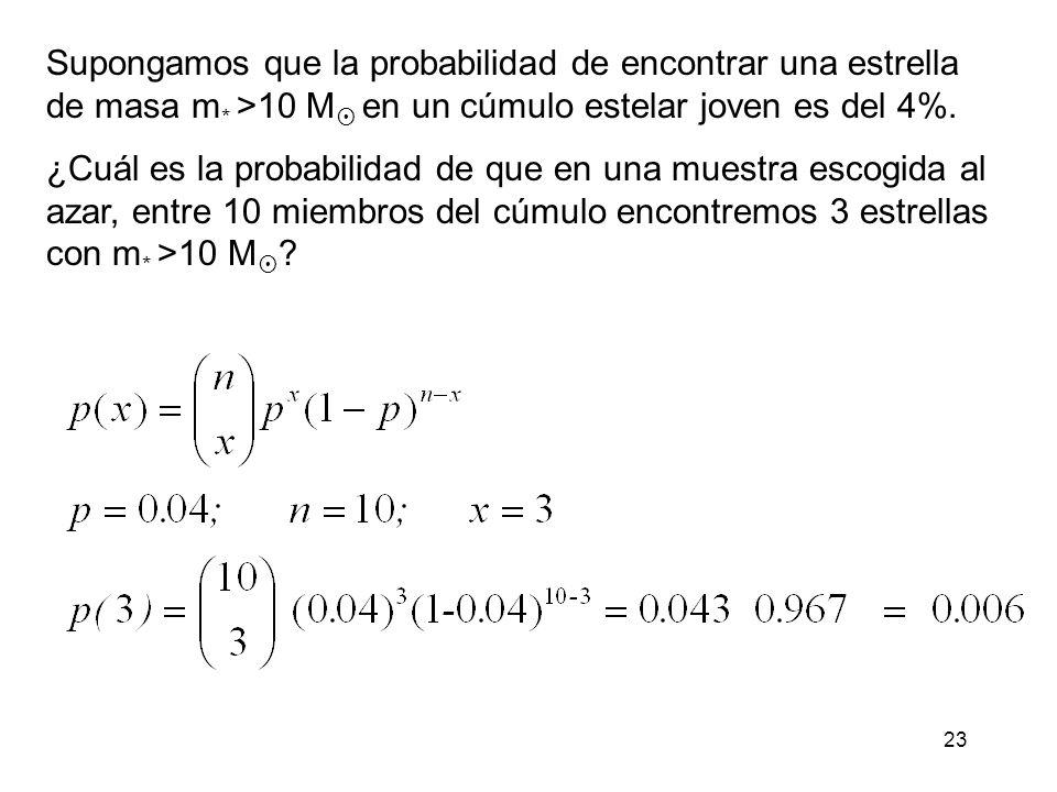 Supongamos que la probabilidad de encontrar una estrella de masa m
