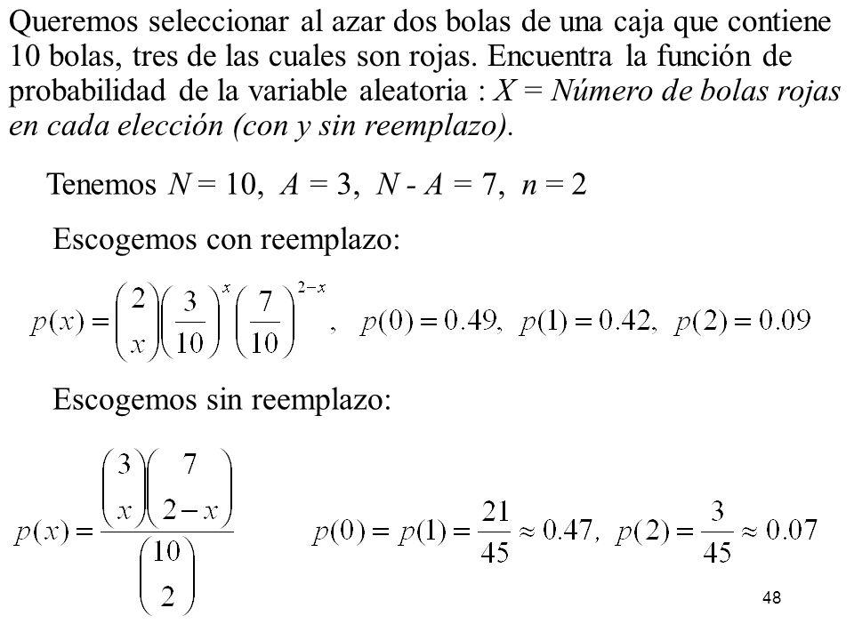 Queremos seleccionar al azar dos bolas de una caja que contiene 10 bolas, tres de las cuales son rojas. Encuentra la función de probabilidad de la variable aleatoria : X = Número de bolas rojas en cada elección (con y sin reemplazo).