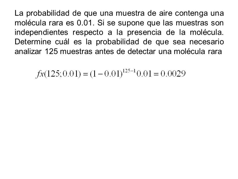 La probabilidad de que una muestra de aire contenga una molécula rara es 0.01.