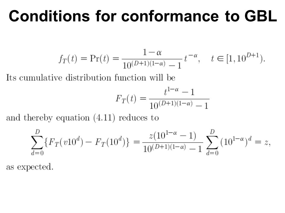 Generalized Benford s Law (GBL)