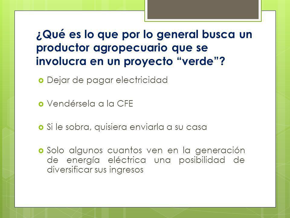 ¿Qué es lo que por lo general busca un productor agropecuario que se involucra en un proyecto verde
