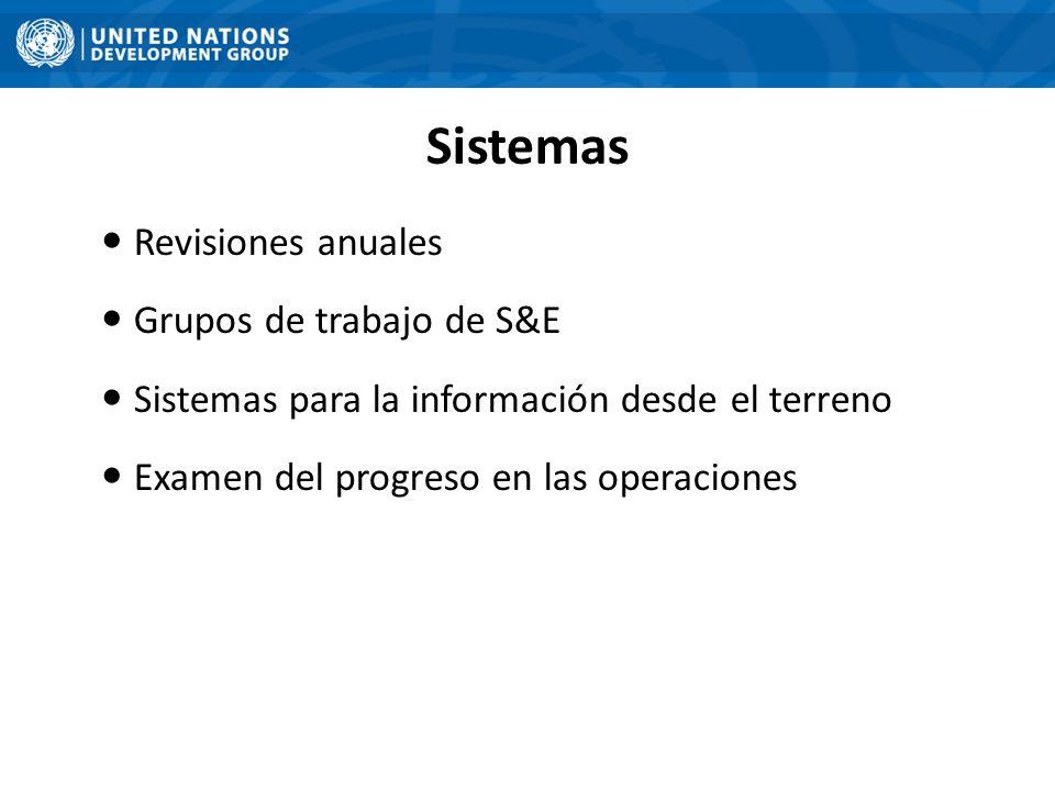 Sistemas Revisiones anuales Grupos de trabajo de S&E