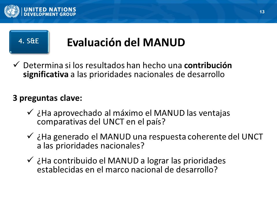 13 Evaluación del MANUD. 4. S&E. 1. Road Map.