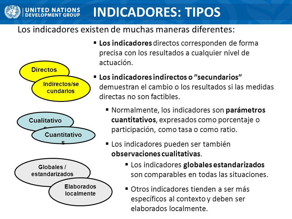 Indirectos/secundarios Globales / estandarizados Elaborados localmente