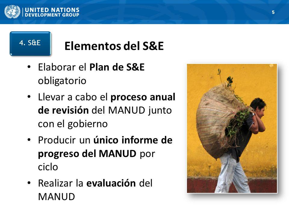 Elementos del S&E Elaborar el Plan de S&E obligatorio