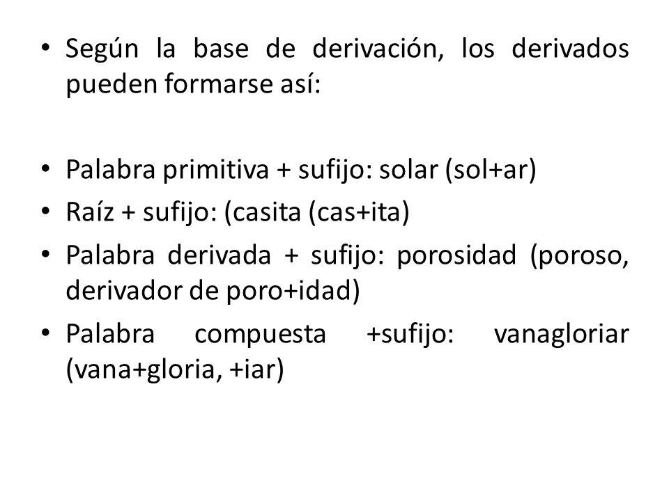 Según la base de derivación, los derivados pueden formarse así: