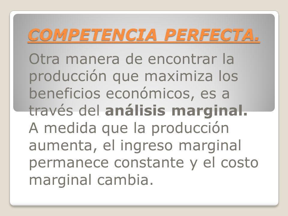 COMPETENCIA PERFECTA. Otra manera de encontrar la producción que maximiza los beneficios económicos, es a través del análisis marginal.