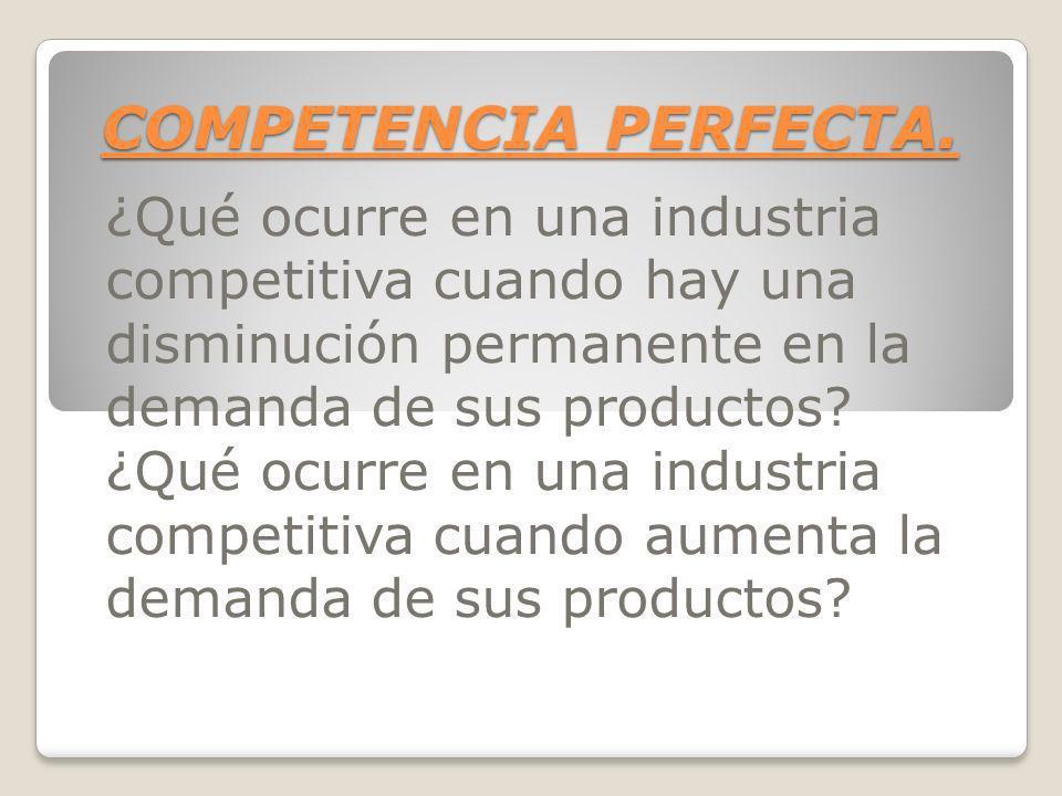 COMPETENCIA PERFECTA. ¿Qué ocurre en una industria competitiva cuando hay una disminución permanente en la demanda de sus productos