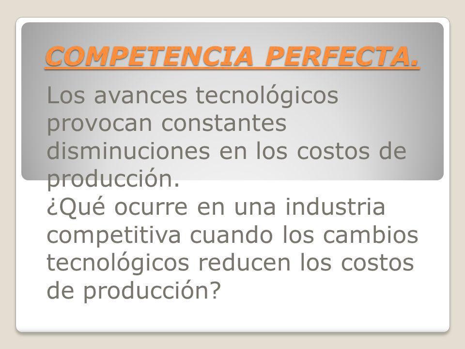 COMPETENCIA PERFECTA.Los avances tecnológicos provocan constantes disminuciones en los costos de producción.