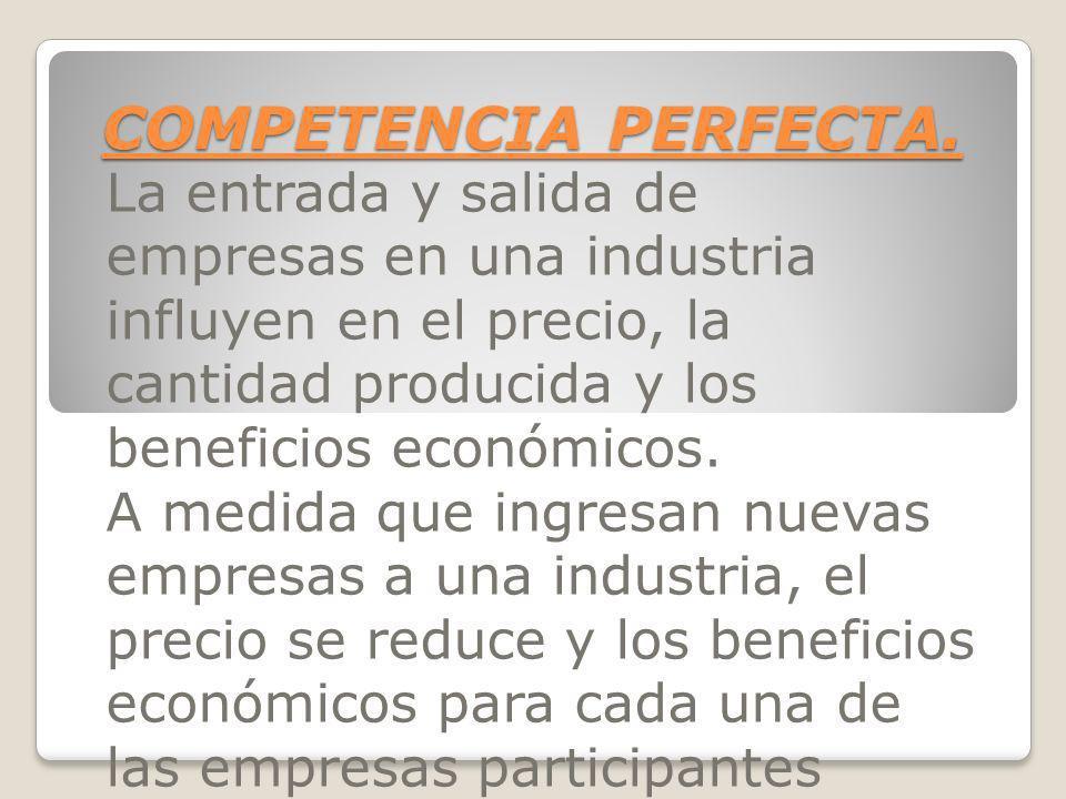 COMPETENCIA PERFECTA. La entrada y salida de empresas en una industria influyen en el precio, la cantidad producida y los beneficios económicos.
