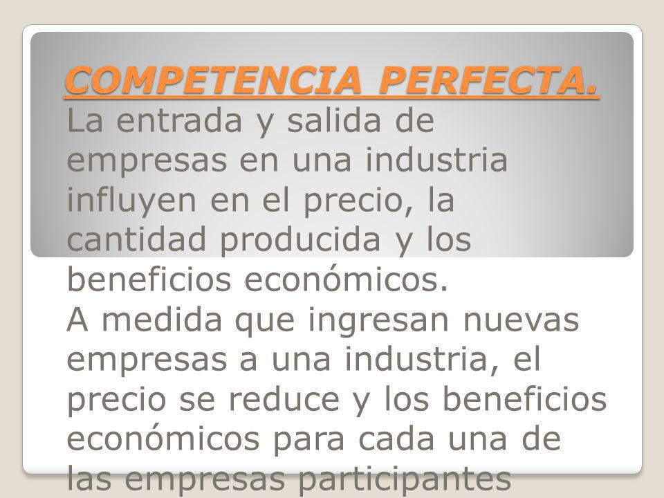 COMPETENCIA PERFECTA.La entrada y salida de empresas en una industria influyen en el precio, la cantidad producida y los beneficios económicos.