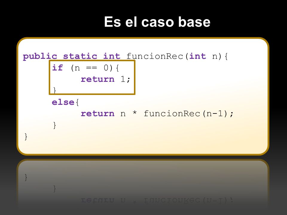 Es el caso base public static int funcionRec(int n){ if (n == 0){