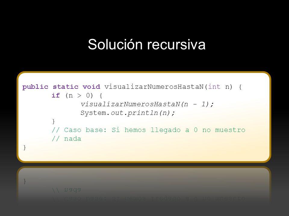 Solución recursiva public static void visualizarNumerosHastaN(int n) {