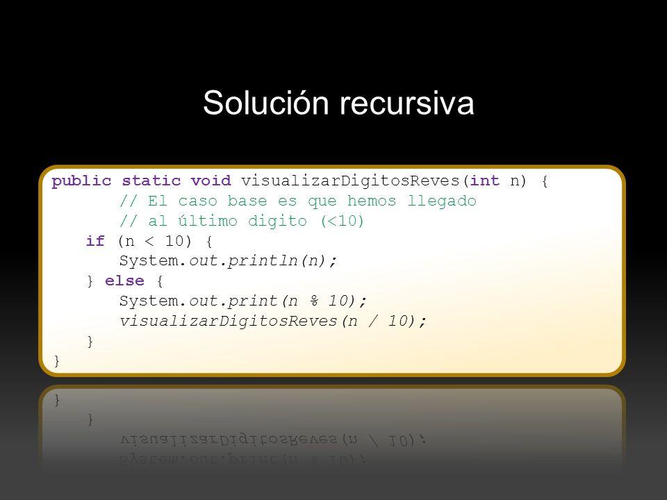 Solución recursiva public static void visualizarDigitosReves(int n) {