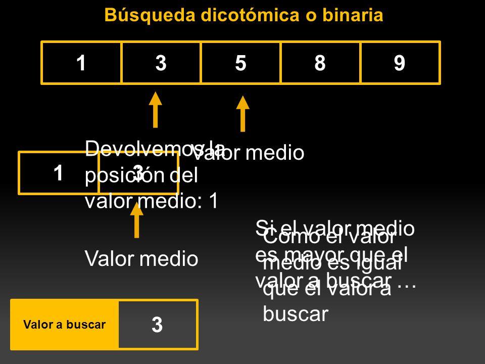 Búsqueda dicotómica o binaria