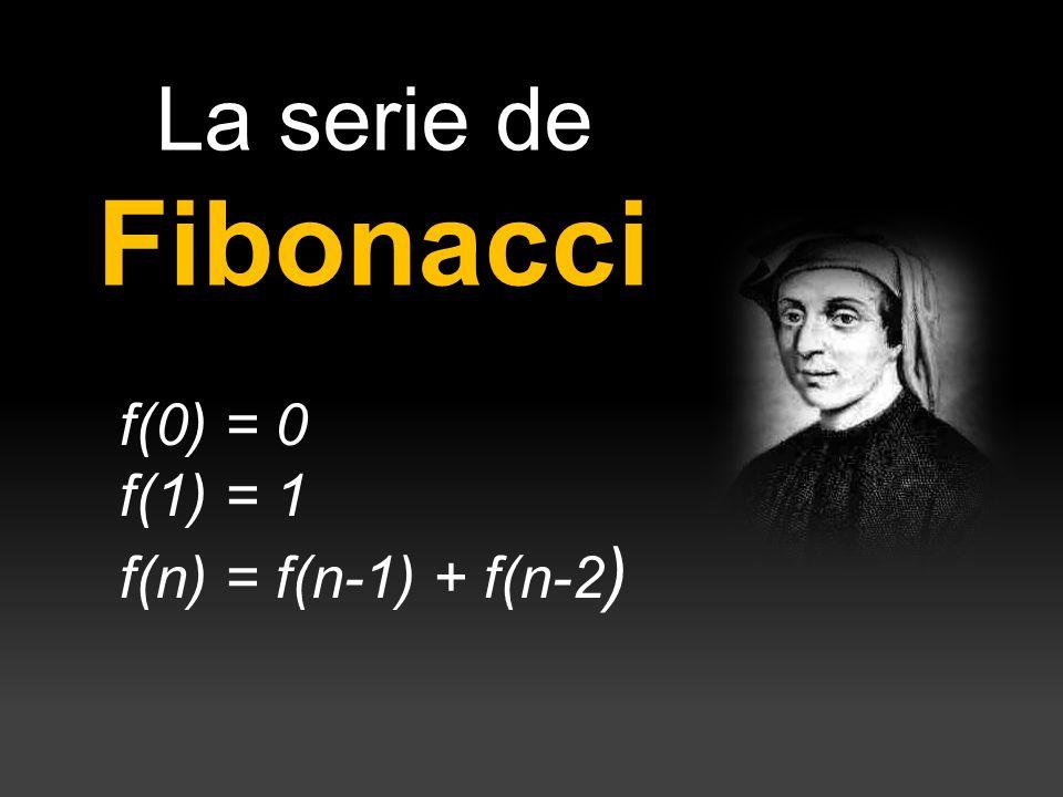 La serie de Fibonacci f(0) = 0 f(1) = 1 f(n) = f(n-1) + f(n-2)