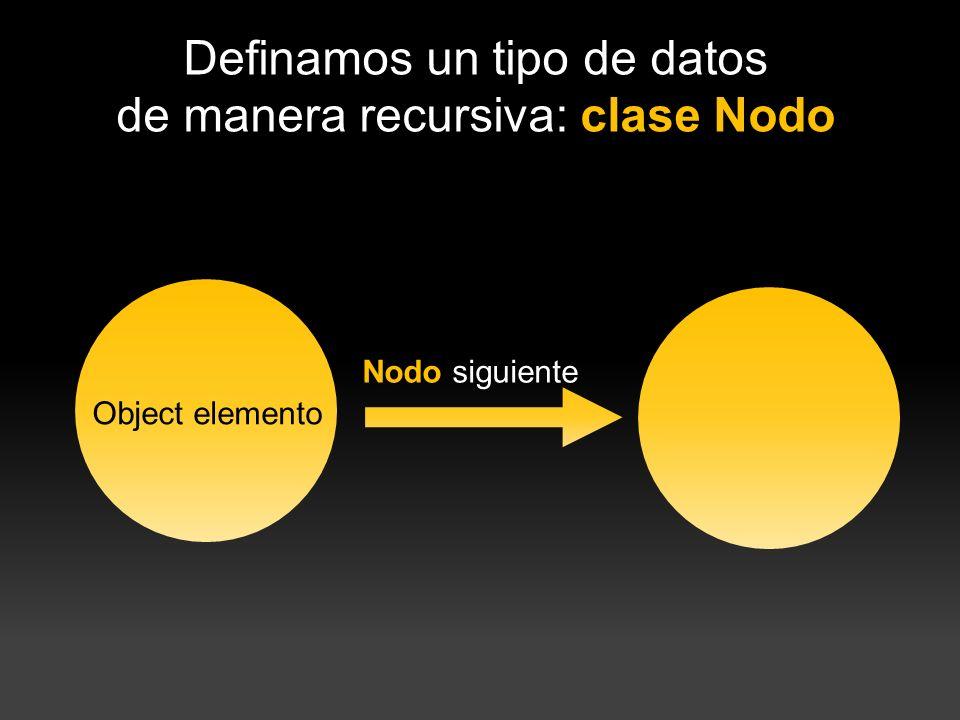 Definamos un tipo de datos de manera recursiva: clase Nodo