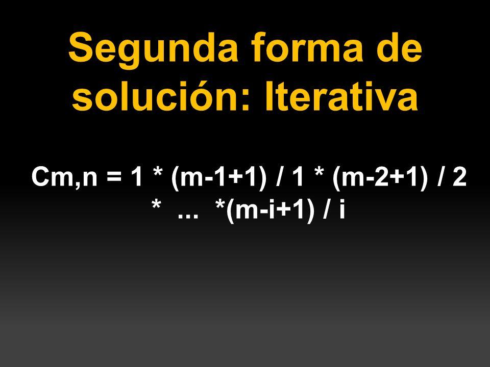Segunda forma de solución: Iterativa