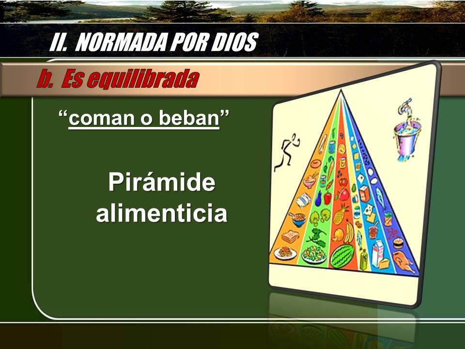 Pirámide alimenticia II. NORMADA POR DIOS b. Es equilibrada