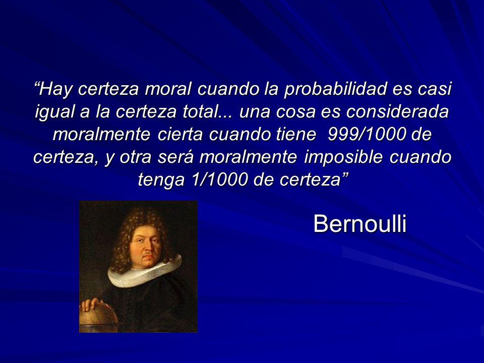 Hay certeza moral cuando la probabilidad es casi igual a la certeza total... una cosa es considerada moralmente cierta cuando tiene 999/1000 de certeza, y otra será moralmente imposible cuando tenga 1/1000 de certeza