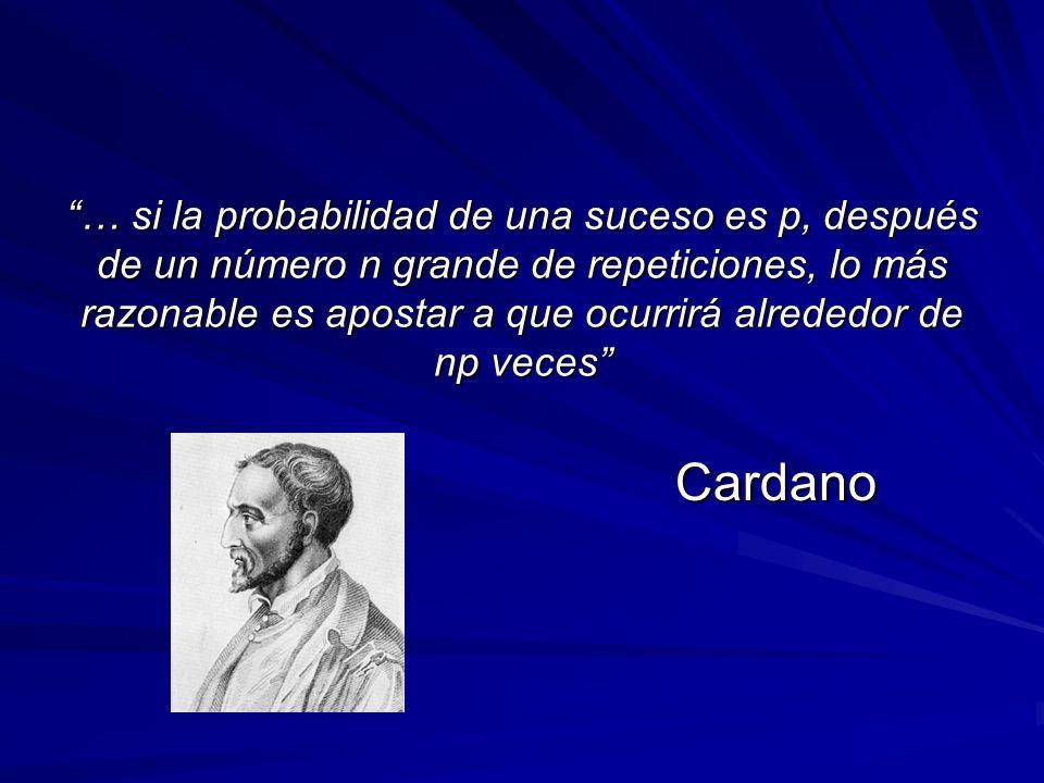 … si la probabilidad de una suceso es p, después de un número n grande de repeticiones, lo más razonable es apostar a que ocurrirá alrededor de np veces