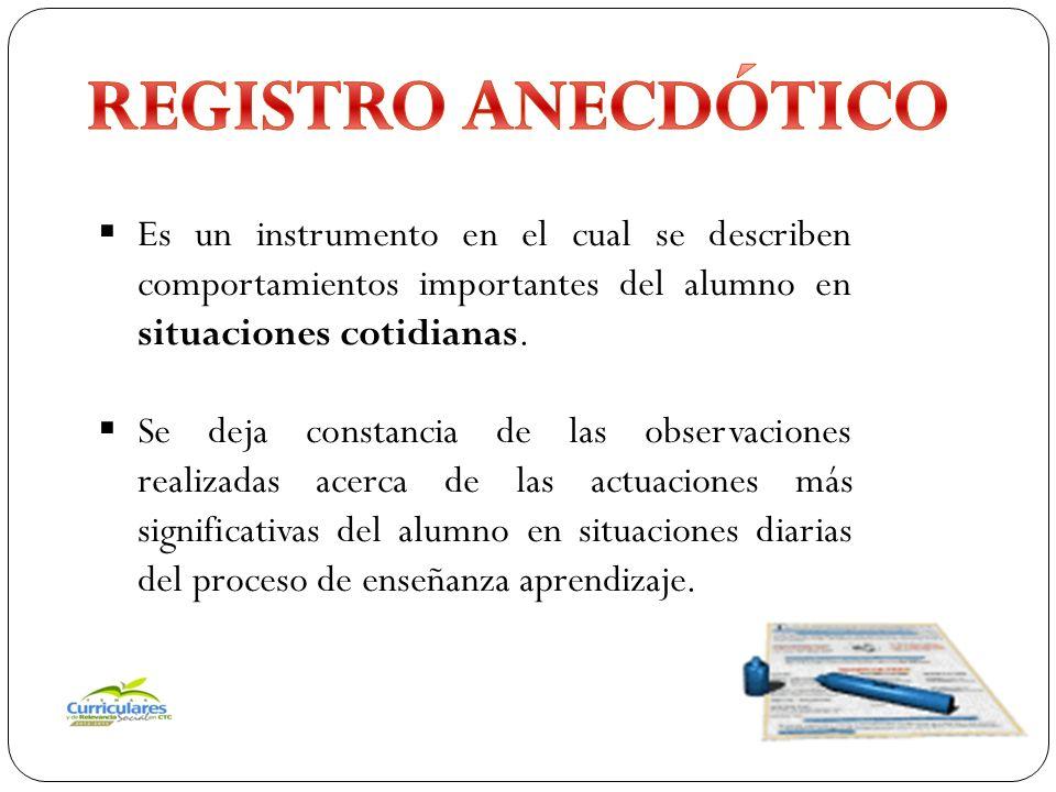 REGISTRO ANECDÓTICO Es un instrumento en el cual se describen comportamientos importantes del alumno en situaciones cotidianas.