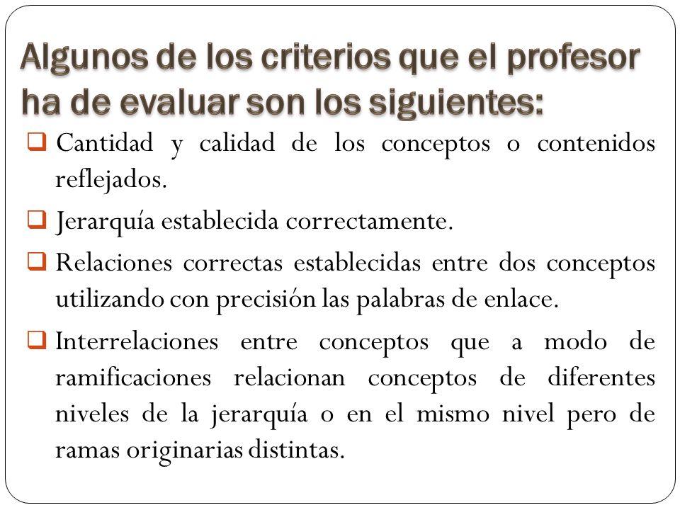 Algunos de los criterios que el profesor ha de evaluar son los siguientes: