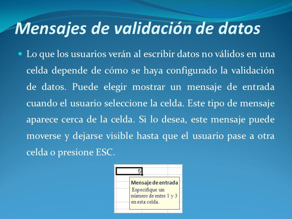 Mensajes de validación de datos