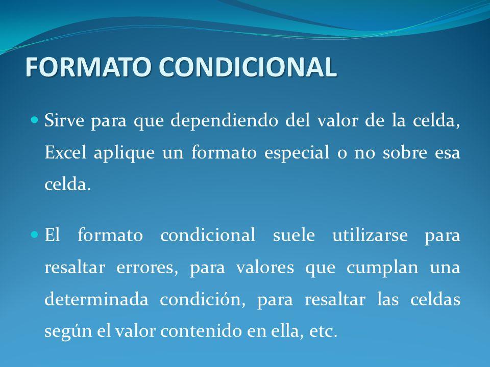 FORMATO CONDICIONAL Sirve para que dependiendo del valor de la celda, Excel aplique un formato especial o no sobre esa celda.