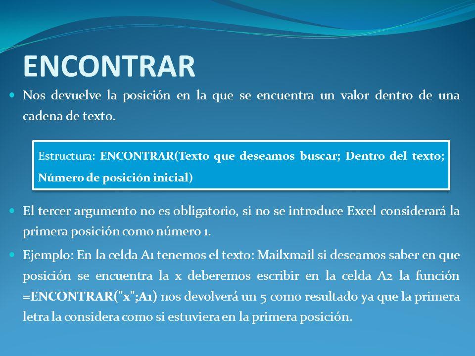 ENCONTRAR Nos devuelve la posición en la que se encuentra un valor dentro de una cadena de texto.