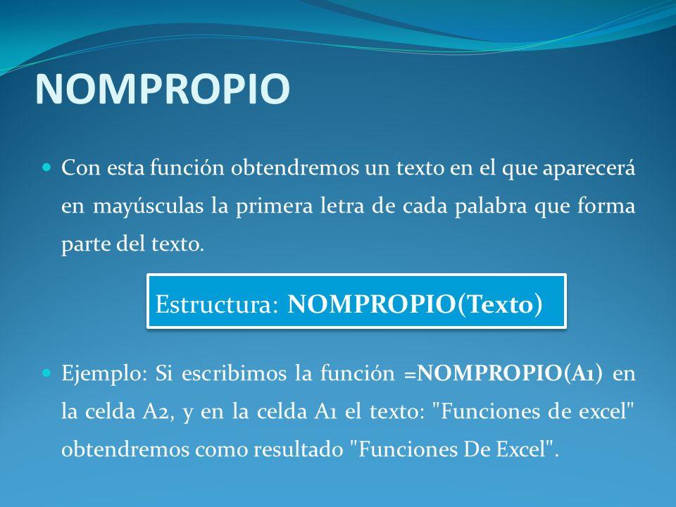 NOMPROPIO Estructura: NOMPROPIO(Texto)
