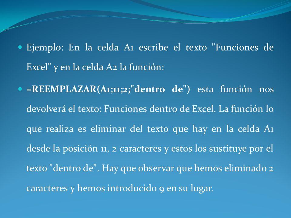 Ejemplo: En la celda A1 escribe el texto Funciones de Excel y en la celda A2 la función:
