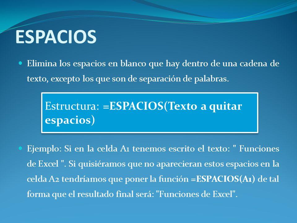 ESPACIOS Estructura: =ESPACIOS(Texto a quitar espacios)