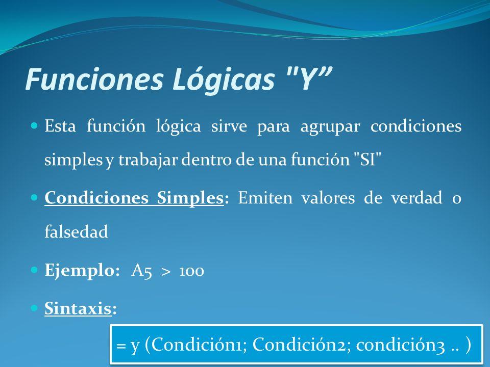 Funciones Lógicas Y = y (Condición1; Condición2; condición3 .. )