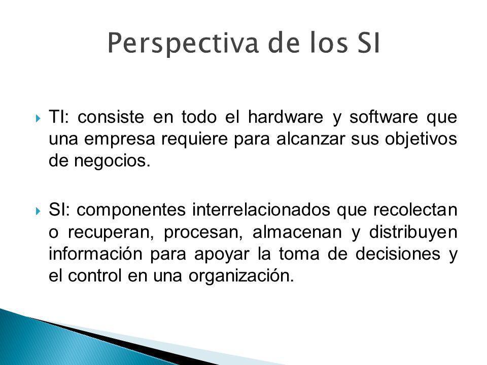 Perspectiva de los SI TI: consiste en todo el hardware y software que una empresa requiere para alcanzar sus objetivos de negocios.