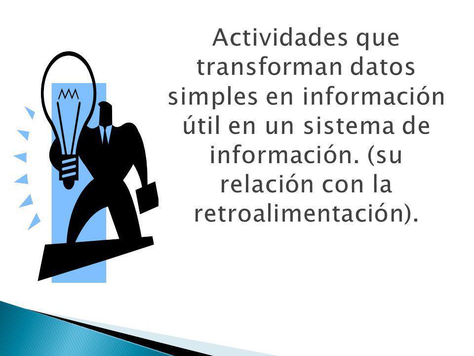 Actividades que transforman datos simples en información útil en un sistema de información.