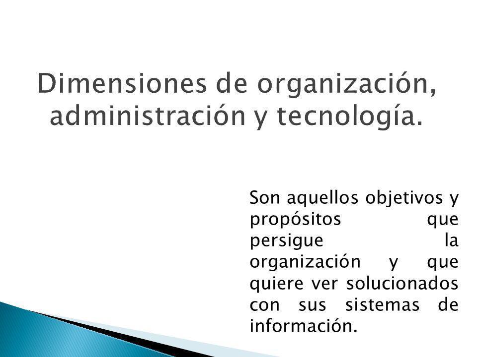Dimensiones de organización, administración y tecnología.