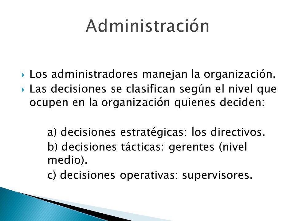 Administración Los administradores manejan la organización.