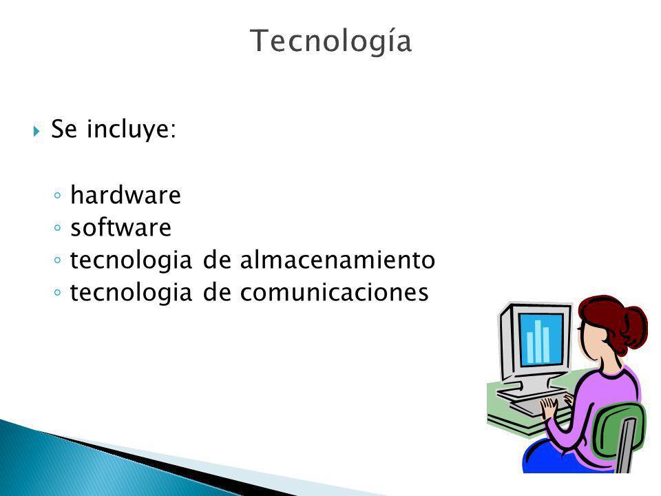 Tecnología Se incluye: hardware software tecnologia de almacenamiento